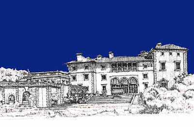 Pen Drawing - Vizcaya Museum In Royal Deep Blue by Building  Art