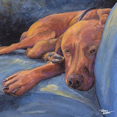 Vizsla Napping Print by Terry Albert