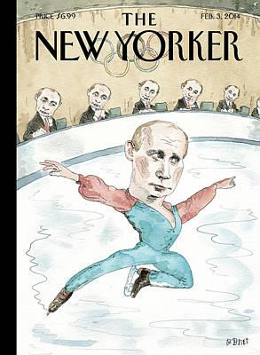 Skating Painting - Vladimir Putin Judges His Figure Skating by Barry Blitt