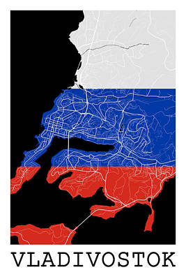 Flag Digital Art - Vladivostok Street Map - Vladivostok Russia Road Map Art On Flag by Jurq Studio