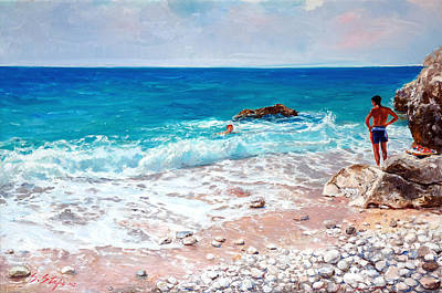 Albania Painting - Vlora Albania - At Liro				 by Sefedin Stafa