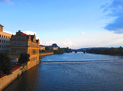 Vltava River Evening Print by Andreas Thust