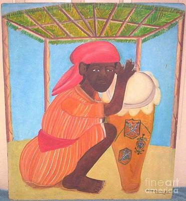 Vodou Painting - Vodou Priest With Drum by Pierre Joseph Valcin