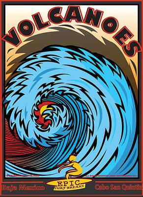Digitalart Digital Art - Volcanoes Baja Mexico Surfing by Larry Butterworth