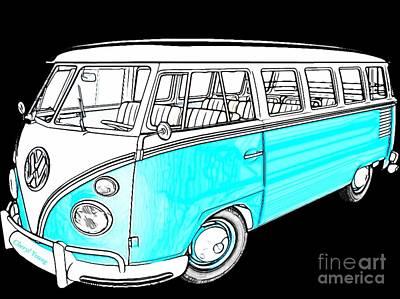 Hippie Van Photograph - Volkswagen Turquoise by Cheryl Young