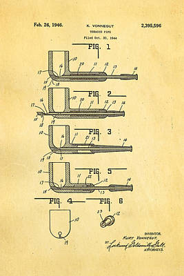 Vonnegut Tobacco Pipe Patent Art 1946 Print by Ian Monk