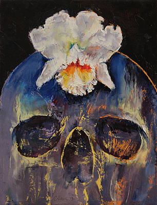 Orchid Art Painting - Voodoo Skull by Michael Creese