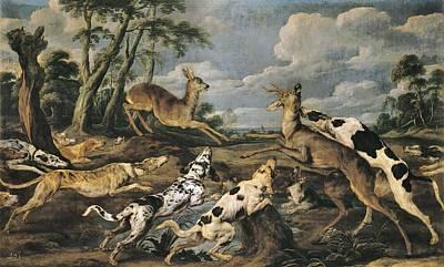 Vos, Paul De 1596-1678. Roe Deers Hunt Print by Everett