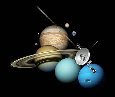 Voyager 2 And Planets Print by Carlos Clarivan