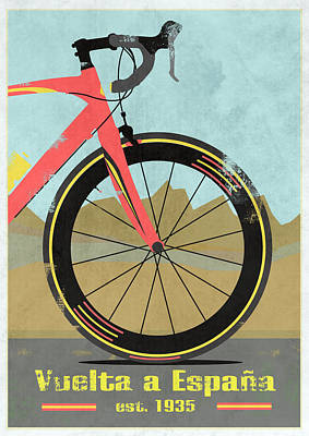 Bicycling Mixed Media - Vuelta A Espana Bike by Andy Scullion