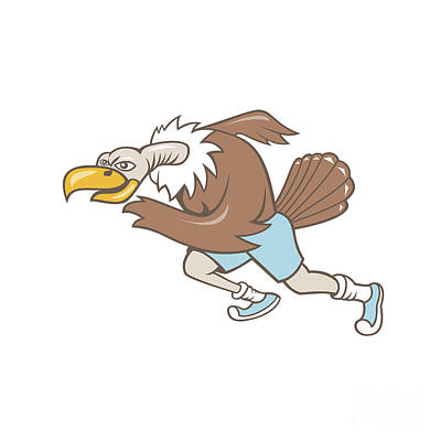 Sprinting Digital Art - Vulture Buzzard Runner Running Cartoon by Aloysius Patrimonio