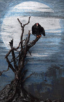 Vulture With Blue Moon Original by Roger Swezey