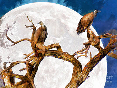 Vulture Digital Art - Vultures Of The Full Moon Night 20150212wcstyle by Wingsdomain Art and Photography
