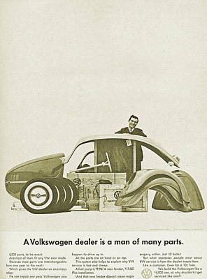 Car Advert Digital Art - Vw Beetle Advert 1962 - A Volkswagen Dealer Is A Man Of Many Parts by Georgia Fowler