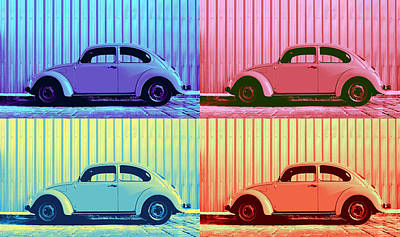 Metallic Sheets Photograph - Vw Beetle Pop Art Quad by Laura Fasulo