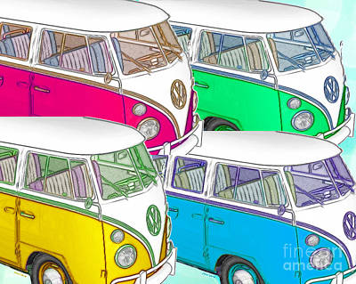 Vw Collage Print by Cheryl Young