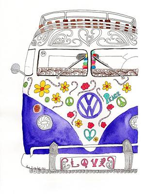 Pen And Ink Drawing Drawing - Vw Love by Paula Dickerhoff