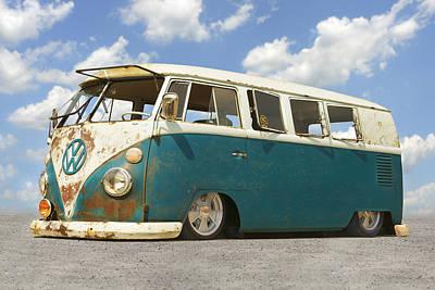 Split Digital Art - Vw Lowrider Bus by Mike McGlothlen