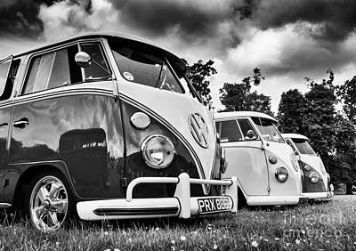Vw Splitties Monochrome Print by Tim Gainey