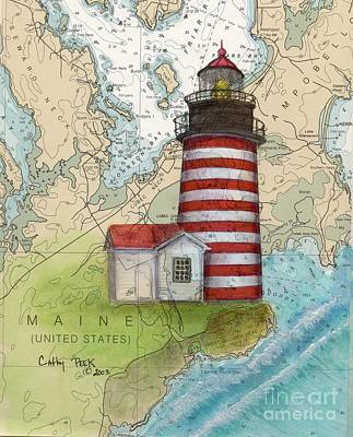 New England Lighthouse Painting - W Quoddy Lighthouse Me Nautical Chart Map Art Cathy Peek by Cathy Peek