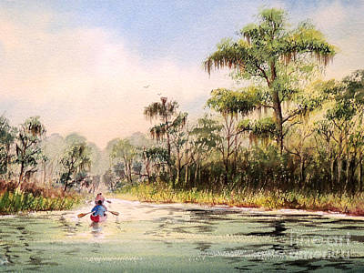 Cypress Swamp Painting - Wacissa River  by Bill Holkham
