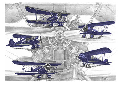 Wacos - Vintage Biplane Aviation Art With Color Print by Kelli Swan