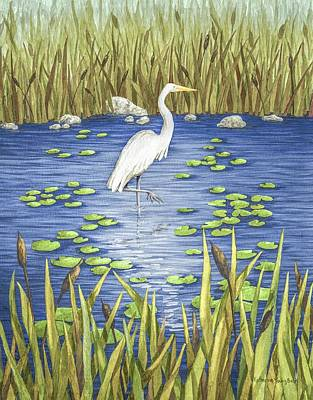 Stork Painting - Wading And Watching by Katherine Young-Beck