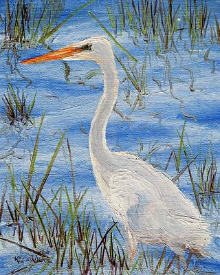 Painting - Wading Egret by Keith Wilkie