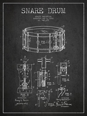 Waechtler Snare Drum Patent Drawing From 1910 - Dark Print by Aged Pixel