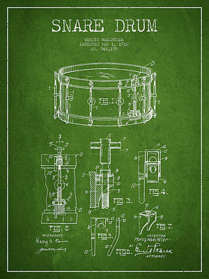 Waechtler Snare Drum Patent Drawing From 1910 - Green Print by Aged Pixel