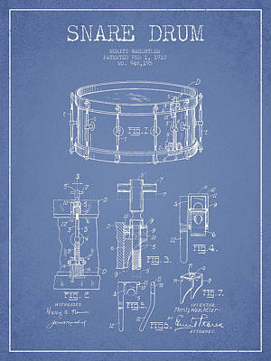 Waechtler Snare Drum Patent Drawing From 1910 - Light Blue Print by Aged Pixel