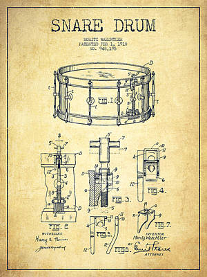 Drum Digital Art - Waechtler Snare Drum Patent Drawing From 1910 - Vintage by Aged Pixel