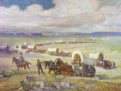 Manifest Destiny Painting - Wagon Trail by Granger