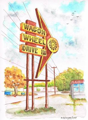 Drive-ins Painting - Wagon Wheel Drive In In Big Spring - Texas by Carlos G Groppa