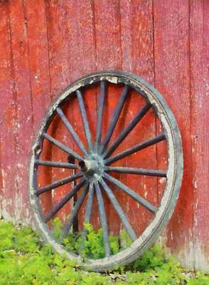 Wagon Wheel On Red Barn Print by Dan Sproul