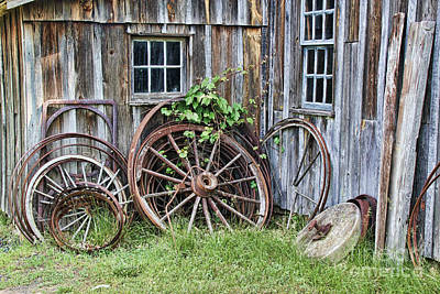 Wagon Wheels In Color Print by Crystal Nederman