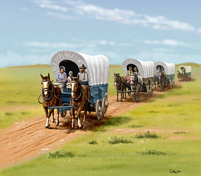 Wagons West Establish Grapevine Texas - Wagon Train Print by Walt Curlee