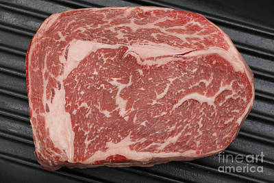 Wagyu Beef Steak In A Pan From Above Print by Paul Cowan