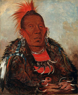George Catlin Painting - Wah-ro-nee-sah. The Surrounder. Chief Of The Tribe by George Catlin