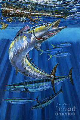 Dolphin Painting - Wahoo Rip Off0047 by Carey Chen