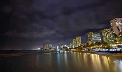 Waikiki Beach At Night Print by Tin Lung Chao