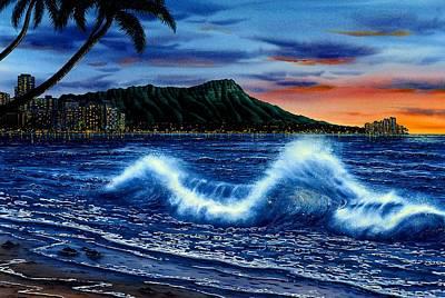 Waikiki Beach Sunset Original by John YATO