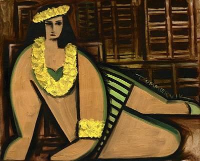 Waikiki Painting - Waikiki Hula Girl Art Print by Tommervik