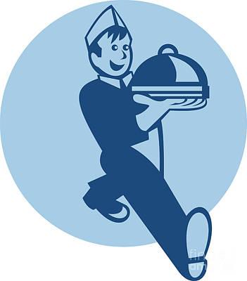 Waiter Cook Chef Baker Serving Food Print by Aloysius Patrimonio