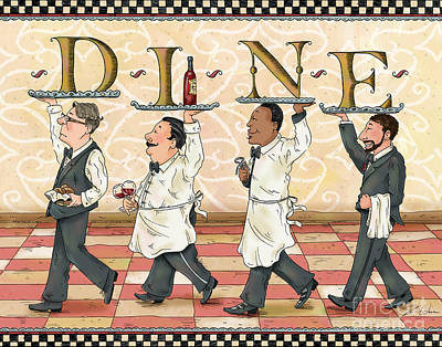 Wine Mixed Media - Waiters Dine by Shari Warren