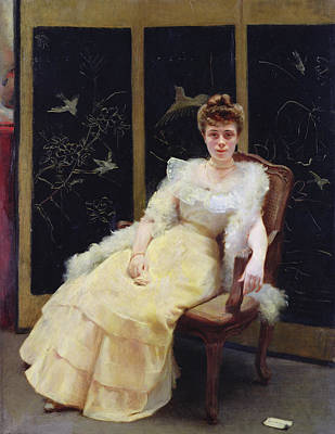 Ball Gown Photograph - Waiting, 1901 Oil On Canvas by Ernst Philippe Zacharie