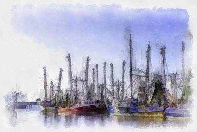 Waiting At Dock Print by Barry Jones