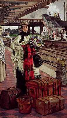 Luggage Photograph - Waiting At The Station, Willesden Junction, C.1874 by James Jacques Joseph Tissot