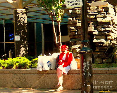 Character Studies Painting - Waiting At The Stop Stationnement Debarcadere Seulement Urban Montreal City Scene Carole Spandau by Carole Spandau