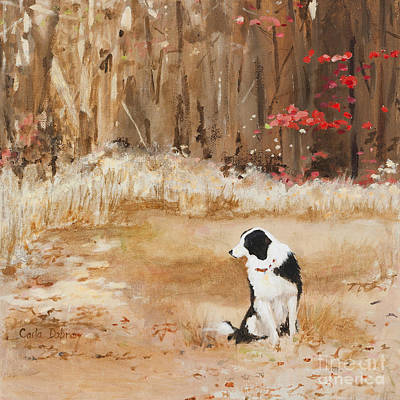 Dog In Landscape Painting - Waiting At Woods Edge by Carla Dabney